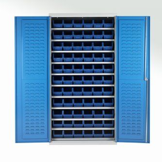 British 11 Shelf Bin Cabinets c/w 72 bins