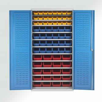 British 12 Shelf Bin Cabinets c/w 72 bins