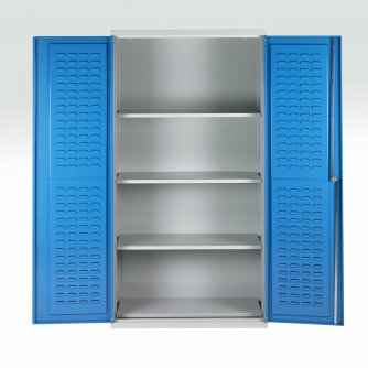 British 4 Shelf Double Door Bin Cabinet 2000h x 1000w x 500dmm