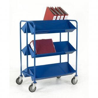 British Book Trolley Double Sided with Angled Shelves