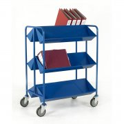 Book Trolley Double Sided with Angled Shelves