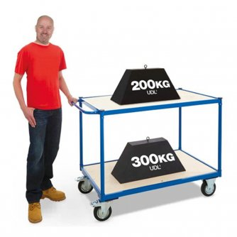 British 2 Tier Shelf Trolley 500kg Capacity