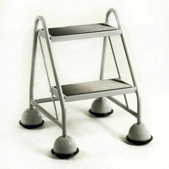 British 2 Tread Mobile Steps No Handrail Rubber Treads