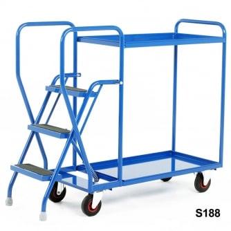 British 3 Step Tray Trolley Heavy Duty 2 or 3 Shelves