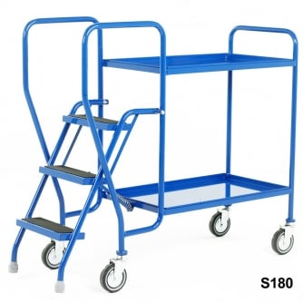 British 3 Step Tray Trolley Medium Duty 2 or 3 Shelves