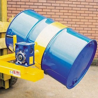 British 360kg Fork Mounted Steel and Plastic Drum Rotator with Handle