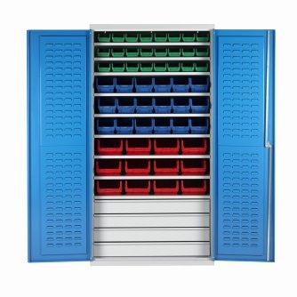 British 9 Shelf Bin Cabinets c/w 60 bins and 4 Drawers