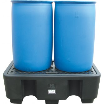 British Drum Spill Pallet for 2 Drums 250 Litres 440h x 1300w x 750d mm