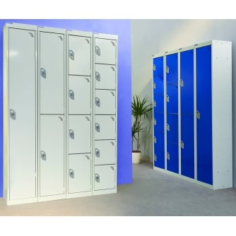 British Express Lockers with 1, 2, 4, 6 Grey or Blue Doors