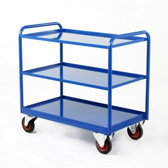 British Industrial 3 Steel Panel Tray Trolley