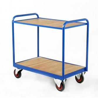 British Industrial Timber & Steel Panel Tray Trolleys Capacity 300kgs