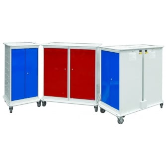 British Laptop Charging Trolleys 8 or 16 Compartments with 2 or 4 Doors