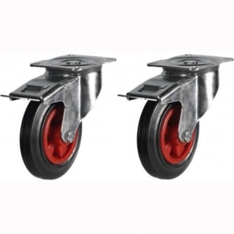British Optional Extras 2 x Braked Swivel Castors 200mm Diameter