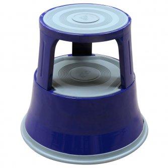 British Round Steel Kick Step or Kick Stool in Blue