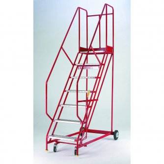British Standard Quality Red Range Mobile 7 Steps with Handlock Anchorage