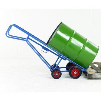 British Zinc Pallet loading drum truck with bar handles