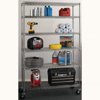 British Chrome 1800mm High 6 Tier Mobile Shelving System