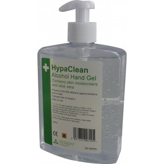 HypaClean Alcohol Hand Gel Pump Dispenser, 500ml (Pack of 6)