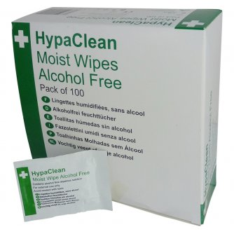 HypaClean Moist Wipes, Alcohol Free (Pack of 100)