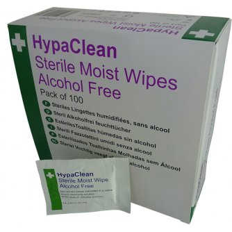 HypaClean Sterile Moist Wipes, Alcohol Free (Pack of 100)