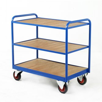 British Industrial 3 Timber Panel Tray Trolleys