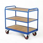Industrial 3 Timber Panel Tray Trolleys
