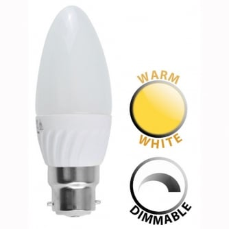 LED Dimmable 4W BC Thermo Plastic Frosted Candle 3000K Warm White