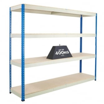 PQ 1980mm High Blue & Galvanised High Shelving with Chipboard Shelves