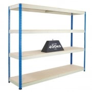 1980mm High Blue & Galvanised High Shelving with Chipboard Shelves