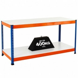 PQ 2 Level Melamime Top Workbenches in Orange & Blue