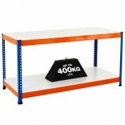 2 Level Melamime Top Workbenches in Orange & Blue