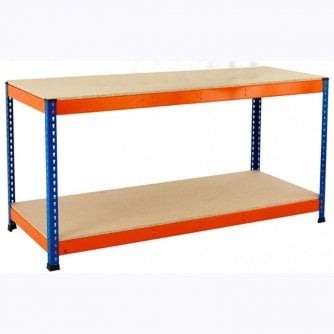 PQ 2 Level Workbenches with Reversible Chipboard Tops Orange & Blue