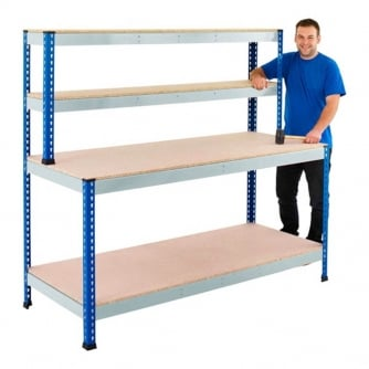 PQ 400 Blue & Galvanised Workstations with Chipbopard Shelves
