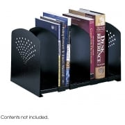 Adjustable 5 Section Steel Book Rack, Black
