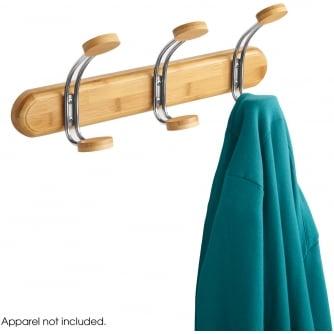 PQ Bamboo Coat Rack, 3 Hook, Natural