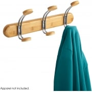 Bamboo Coat Rack, 3 Hook, Natural