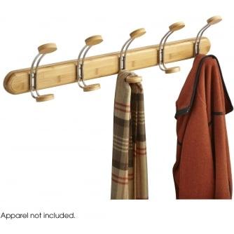 PQ Bamboo Coat Rack, 5 Hook, Natural