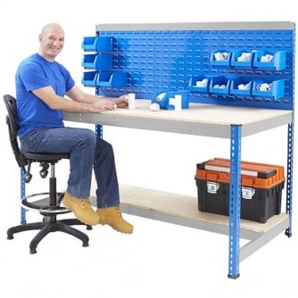 PQ Blue and Galvanised Workstation With Louvre Panel & Chipboard Shelf with or without Bins