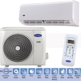 PQ Carrier Pearl High-Wall Split Complete System Air Conditioner 2.5, 3.5 and 5Kw