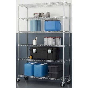 PQ Chrome 1830mm High 6 Tier Mobile or Static Shelving 1219W x 457D mm