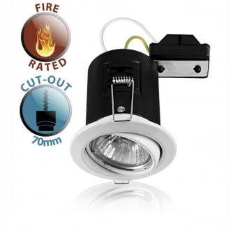 PQ Fire Rated Tiltable GU10 Downlight in White NO BULB