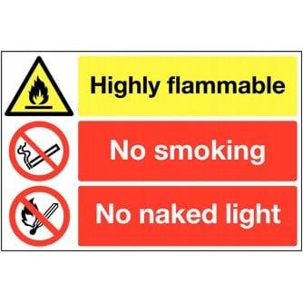 PQ Highly Flammable No Smoking Multi-Message sign 300 x 500 Rigid Plastic