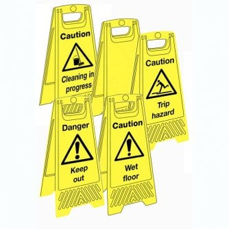 PQ Highly-Visible Floor Standing Signs Caution and danger in 5 Types
