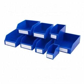 PQ K-Bins Flat Pack Corrugated Plastic Parts Bins Colour Blue 300mm Deep