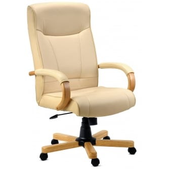 PQ Knightsbridge Executive Cream Leather Chair - Bonded Leather