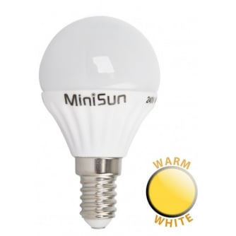 PQ LED 4W Golf Ball Light Bulb SES / E14 Warm White 3,000k