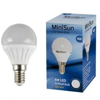 PQ LED 4W Golf Ball SES/E14 LED Light Bulb Daylight 6,500k
