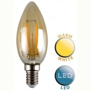 LED Filament Squirrel Cage Candle Bulb Amber 2700K E14 2W