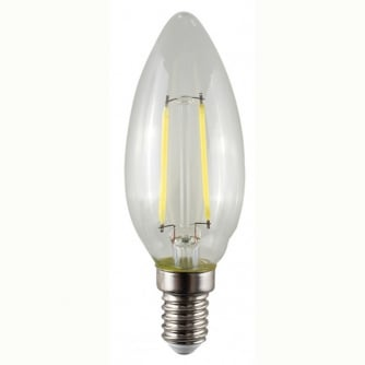 PQ LED Filament Squirrel Cage Candle Bulb Clear 2700K E14 2W