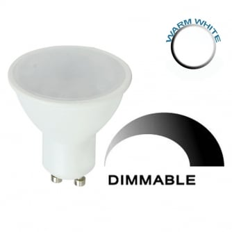 PQ LED GU10 Plastic Bodied Spotlight Bulb - 5w-Warm White Dimmable